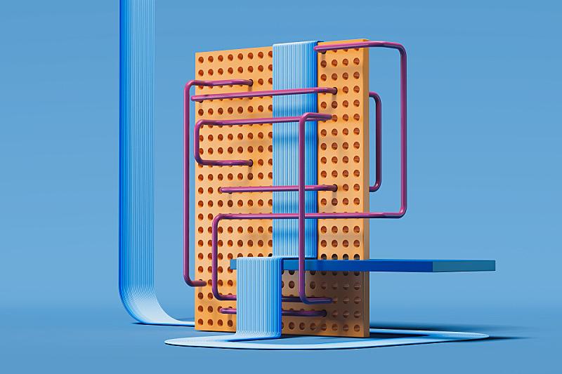 蓝色背景,数字,三维图形,组物体,几何形状,模板,现代,几何学,绘画插图,金字塔
