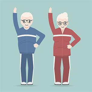 松弛练习,老年伴侣,老年人,计算机图标,概念,绘画插图,符号,泰国,运动