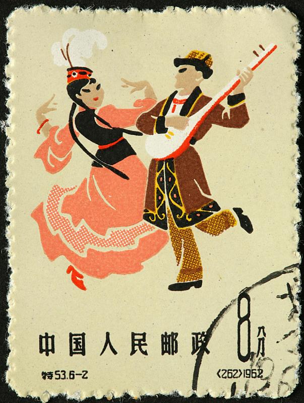 舞者,传统音乐家,垂直画幅,中国,音乐人,音乐,古典式,邮票,舞蹈,摄影