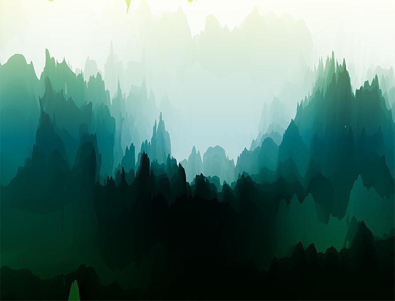 自然,地形,水彩画,山,现代