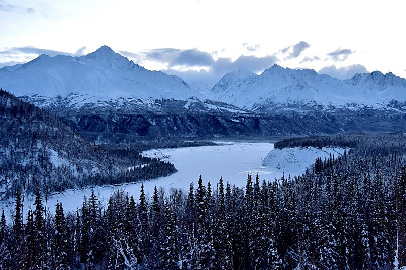 马塔牛斯加河,冻结的,马塔努损卡谷地,美国,水平画幅,雪,冰河,无人,户外,冰
