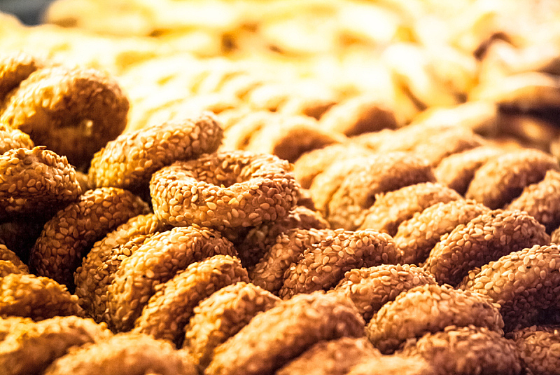 Close up of a pile of cookies pretzels