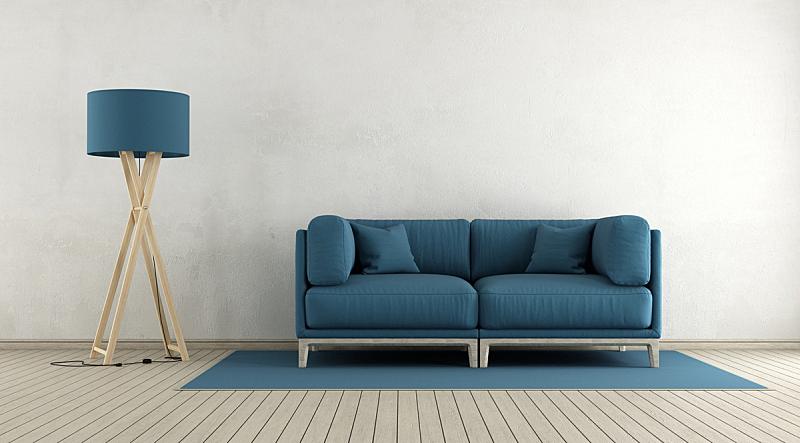 起居室,极简构图,水平画幅,墙,无人,灯,家具,现代,沙发,白色