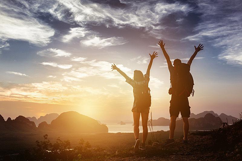 异性恋,山脉,幸福,概念,高视角,旅行者,男性,仅成年人,山脊,青年人