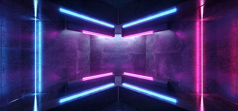 走廊,三维图形,未来,霓虹灯,蓝色,黑色,指挥台,车库,反射,发光