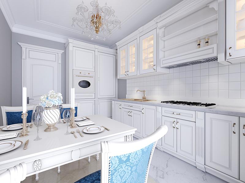 厨房,时尚,室内,明亮,白色,餐桌,简单,华贵,舒服,现代