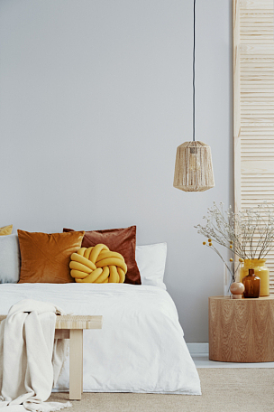 空的,床,白色,黄色,枕头,墙,明亮,卧室,有节疤的木料,留白