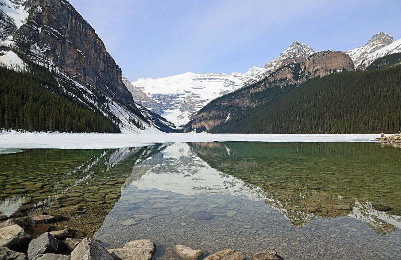 露易斯湖,班夫,浪漫,雪,加拿大,湖,小路,岩石,户外,天空