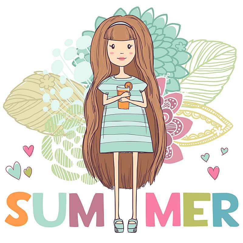 夏天,背景,抽象,青少年,沙滩派对,绘画插图,古典式,鸡尾酒,果汁