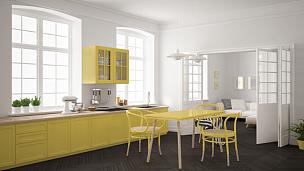 斯堪的纳维亚人,白色,黄色,起居室,厨房,简单,室内设计师,极简构图,背景,座位
