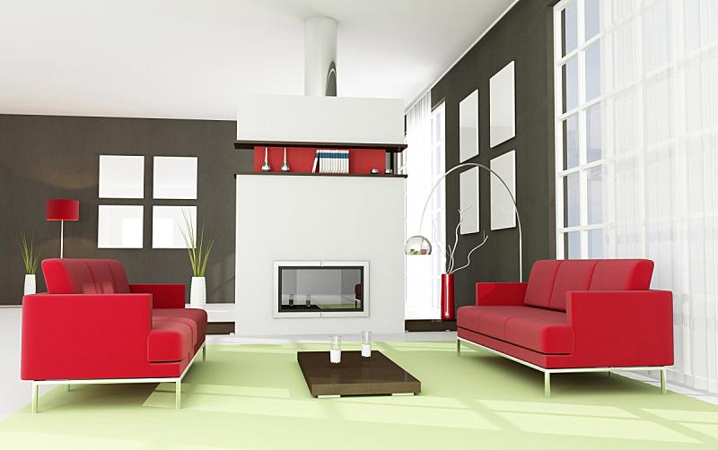 现代,起居室,壁炉,极简构图,褐色,边框,水平画幅,墙,家庭生活,地毯