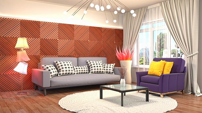室内,起居室,三维图形,绘画插图,水晶吊灯,扶手椅,褐色,座位,桌子,水平画幅