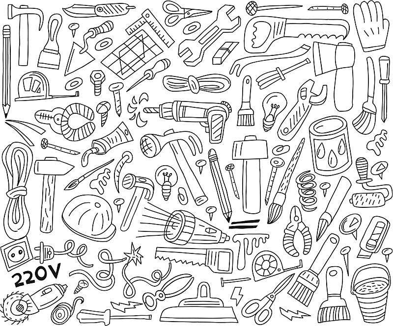 乱画,设备用品,电缆,锤子,形状,无人,职权,绘画插图,符号,电灯泡