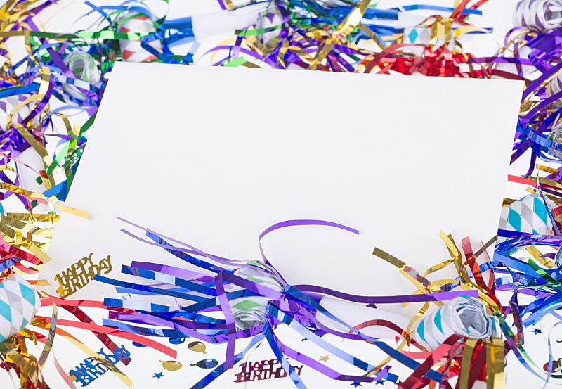 生日,信封,玩具吹卷,口哨,横幅,留白,水平画幅,无人,明亮,白色