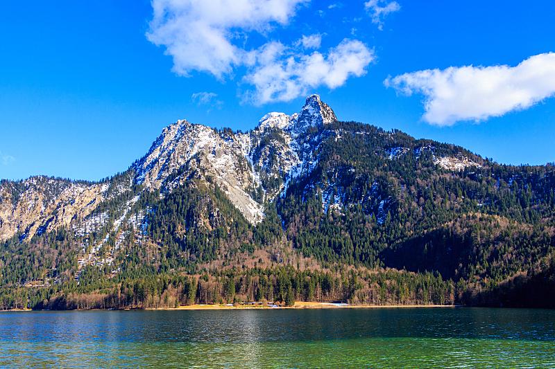 夏天,湖,阿尔卑斯山脉,白昼,德国,水,天空,美,水平画幅,高视角