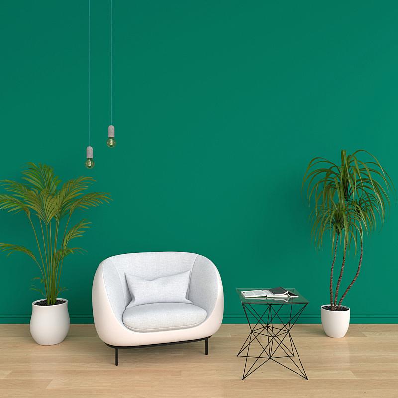 沙发,三维图形,绿色,起居室,空的,清新,花盆,泰国,地板,围墙