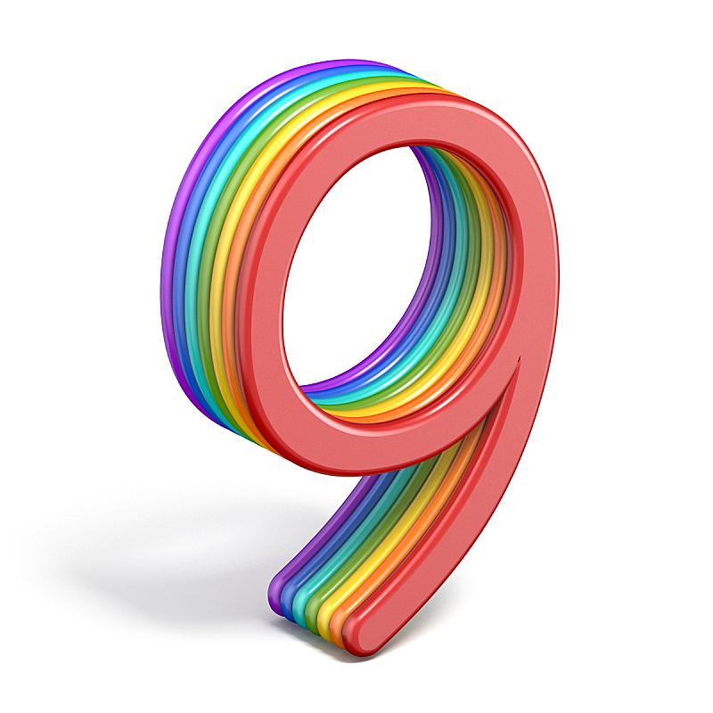 彩虹,三维图形,字体,数字9,字母,形状,无人,绘画插图,平视角,性格