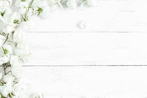 木制,野玫瑰,边框,白色,背景,排列整齐,花瓣,婚礼,花纹,春天