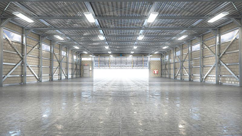 大门,室内,机库,绘画插图,三维图形,空的,飞机库,贮藏室,植物,建筑