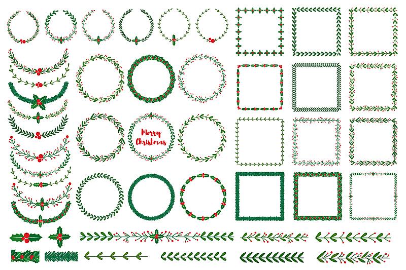 边框,花环,画笔,贺卡,水平画幅,绘画插图,符号,古典式,圣诞树