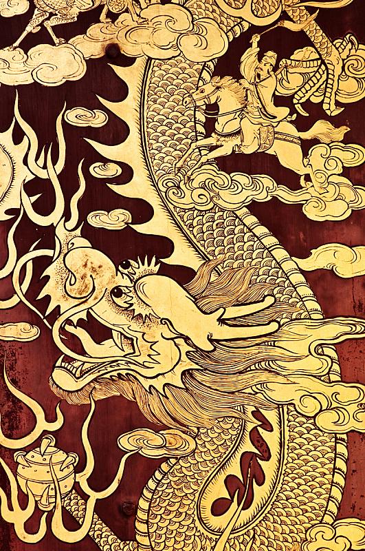 龙,侍从,马六甲州,中国龙,黄金,木制,绘画插图,马来西亚,大门,云景