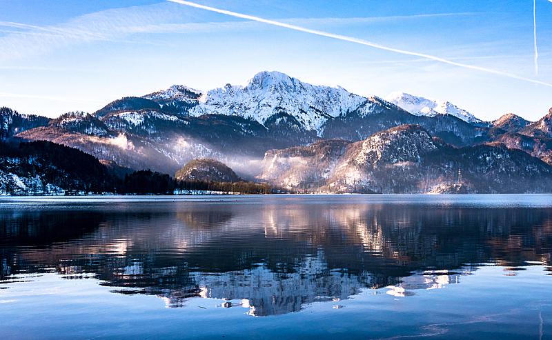 湖,巴伐利亚,小屋,顶部,雪,船库,科赫尔湖,herzogstand峰,小木屋,户外