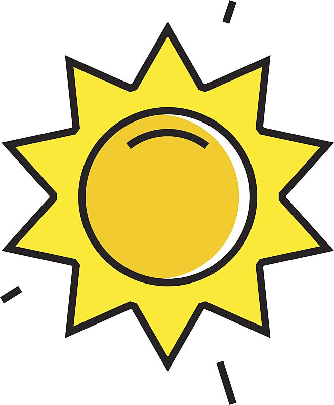 天气,太阳,线图标,气候,线条,热,几何形状,一个物体,环境,气象学