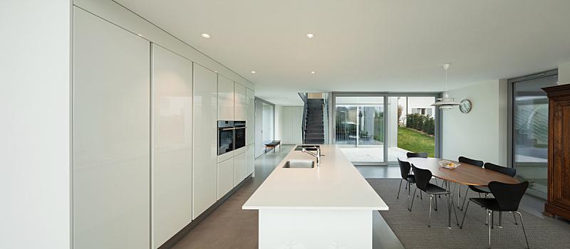 现代,室内,厨房,新的,透过窗户往外看,家庭生活,天花板,地毯,家具,建筑业