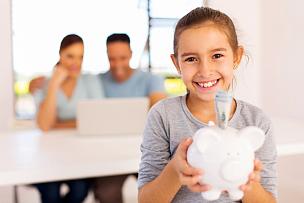 小猪扑满,女孩,拿着,储蓄,全职父亲,金融,做计划,父母,家庭妇女,男性