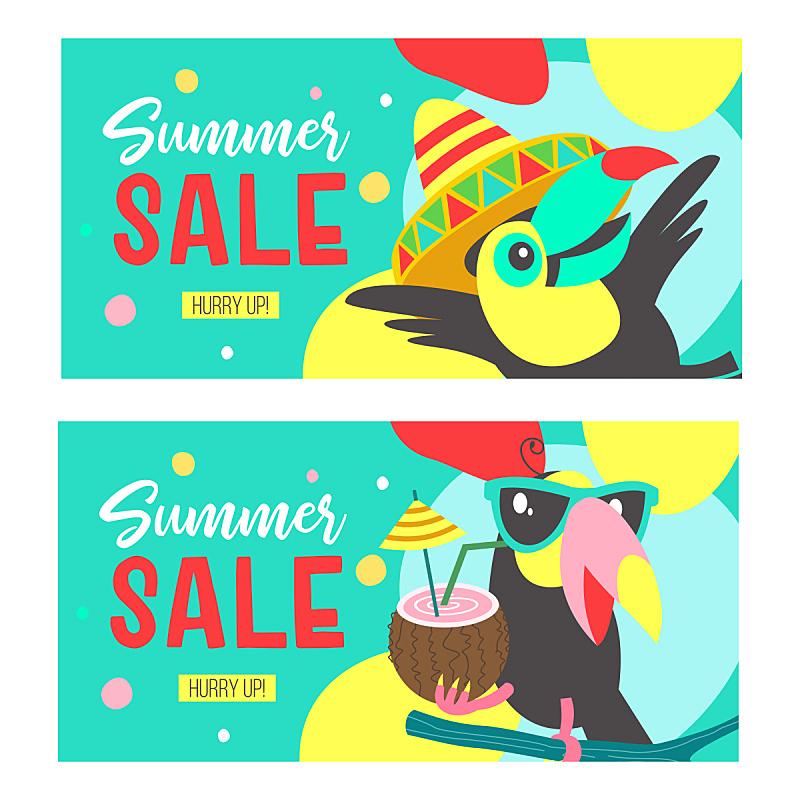 巨嘴鸟,叶子,市场营销,夏天,绘画插图,时尚,水果,鸡尾酒,促销