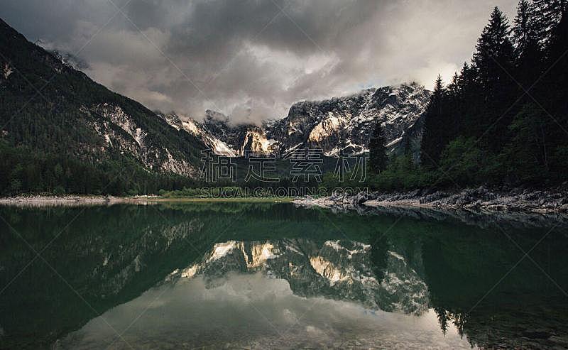 镜湖,自然,水平画幅,雪,无人,户外,湖,天气,冬天,山