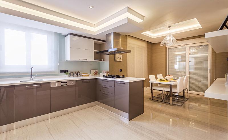 厨房,新的,住宅内部,华贵,自然美,家居开发,石英,项坠,灶台,褐色
