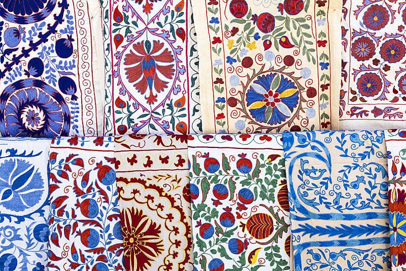 纺织品,式样,乌兹别克斯坦,华丽的,多色的,中亚,货摊,艺术,水平画幅,纪念品