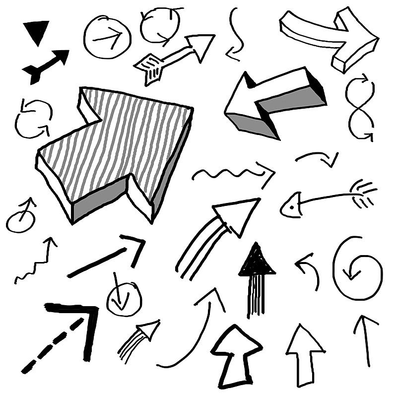 乱画,箭头符号,直的,花体,线条画,粗糙的,草图,绘画插图,在下面,方向