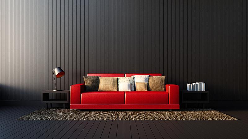 沙发,白色,生活方式,极简构图,黑色,红色,室内,柔和,居住区,灯