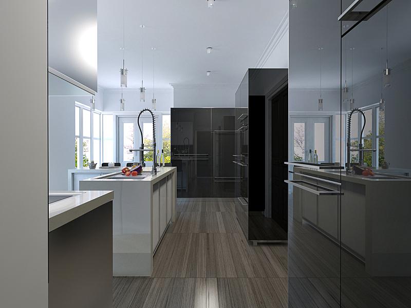 现代,厨房,高雅,餐具,褐色,电动搅拌器,水平画幅,乡村风格,家具,锅