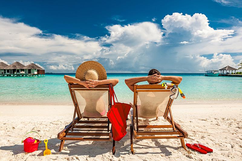 马尔代夫,海滩,伴侣,sun lounger,户外椅,度假胜地,海滩度假,躺椅,蜜月,休闲椅