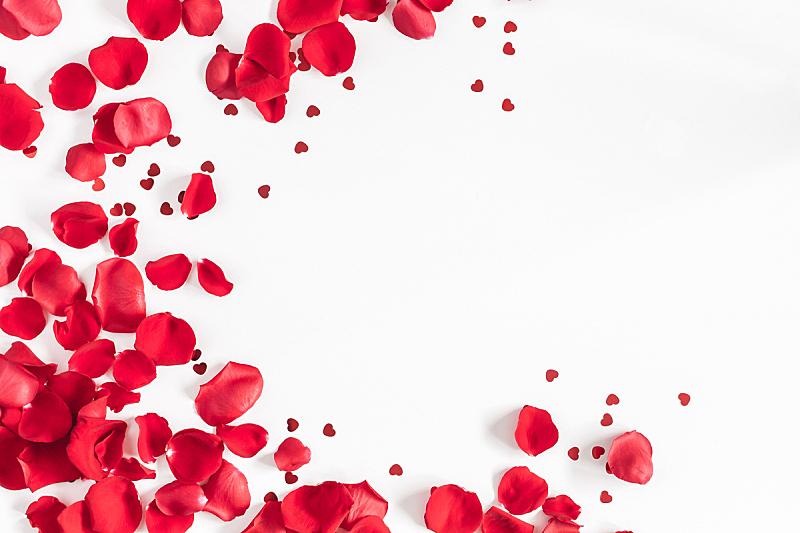 情人节,背景,在上面,玫瑰,五彩纸屑,视角,平铺,留白,古典式,模板