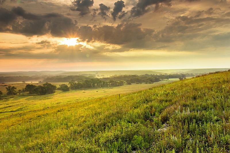 堪萨斯,在上面,草原,地形,天空,水平画幅,山,无人,夏天,户外