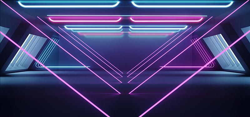 隧道,走廊,背景,三维图形,未来,混凝土,荧光灯,霓虹灯,蓝色,发光