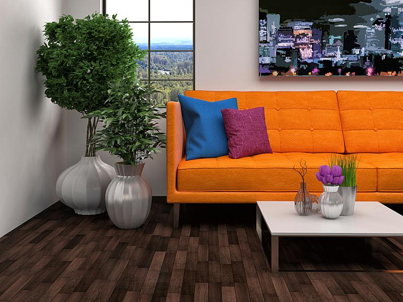 沙发,室内,褐色,绘画插图,三维图形,住宅房间,水平画幅,无人,装饰物,家具