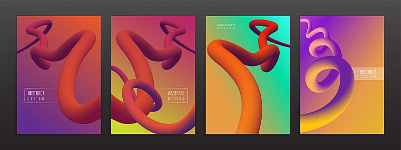 彩色图片,液体,背景,抽象,形状,未来,时髦的,弯曲,布置