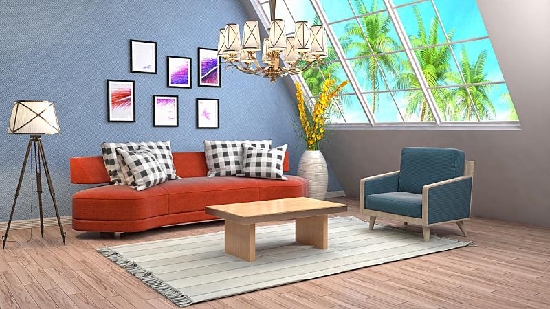 室内,起居室,三维图形,绘画插图,水晶吊灯,普罗旺斯,扶手椅,褐色,座位,水平画幅