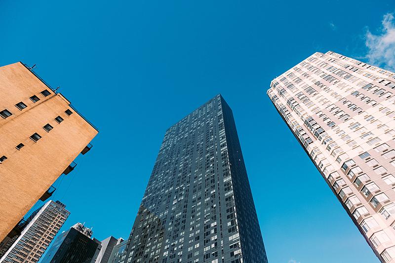 纽约,低视角,云,现代,色彩鲜艳,钢铁,户外,建筑,金融区,广角