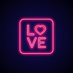 霓虹灯,情人节卡,浪漫,标志,布告,形状,情人节,绘画插图,符号,电灯泡