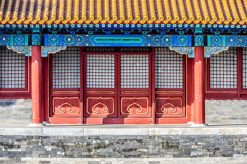 故宫,北京,胡青,明朝风格,庭院,亭台楼阁,古老的,旅行者,户外,大门