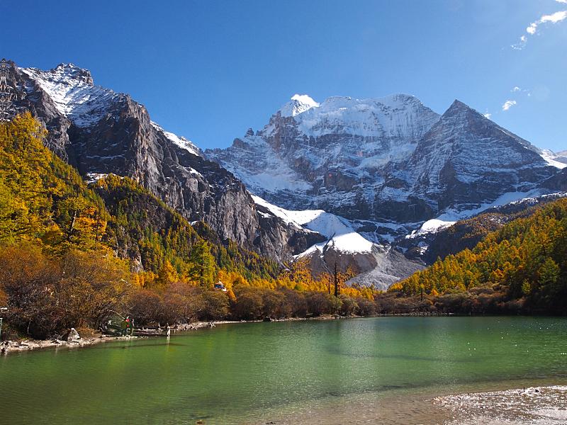 稻城亚丁,湖,珀尔湖,自然保护区,自然,美,水平画幅,秋天,人,户外