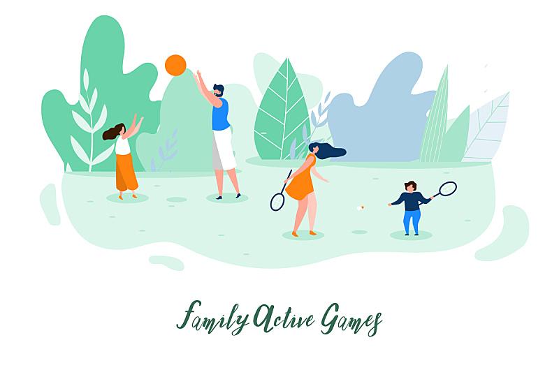 家庭,户外,概念,平坦的,矢量,游戏,动作,球,运动,背景分离