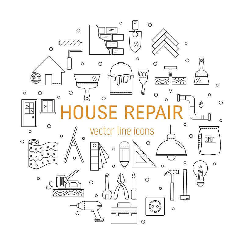符号,房屋,换灯泡,轮盘赌转轮,壁纸刷,油漆工,自己动手,泥铲,滚刷,插座