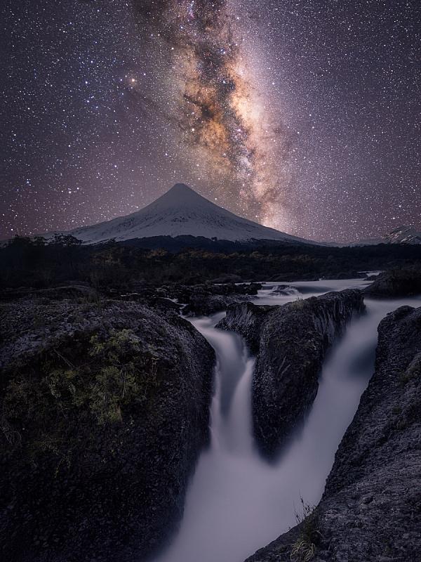 银河系,火山,智利,特拉华,在上面,垂直画幅,南美,天空,太空,星星